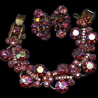 Luscious Juliana DeLizza & Elster Pink Iridescent Aurora Borealis Rhinestone LInk Bracelet & Earring Set