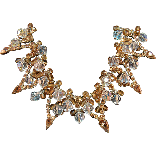 MAGNIFICENT Book Piece Juliana DeLizza & Elster Rhinestone Studded Bib Necklace w/Crystal Beads