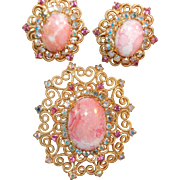 Stunning Juliana DeLizza & Elster RARE Pink Matrix Stone & Heart Brooch & Earring Set