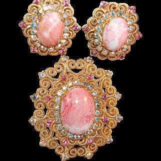Stunning Juliana DeLizza & Elster RARE Pink Matrix Stone & Heart Brooch & Earring Set