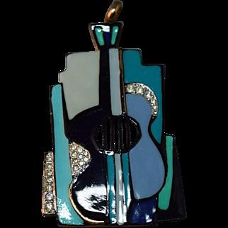 FABULOUS Enameled Stylized Guitar Large Vintage Eisenberg Pendant w/Rhinestones