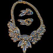 Exquisite Juliana DeLizza & Elster Navette & Rhinestone Necklace & Earring Set