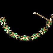 Elegant Plique A Jour Metallic Enameled Vintage Signed CINER Bracelet