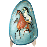 Vintage Pillin Art Pottery 3 Horse Mid-Century Modern Tray