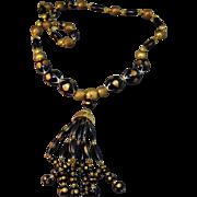 SASSY Vintage Crown Trifari  Black With Gilt Decoration Beaded Tassel Necklace