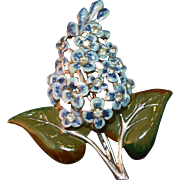 Massive & Magnificent Enameled Enormous Figural Lilac Flower Brooch w/Rhinestone Highlights