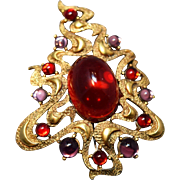 RARE Torttolani Cabachon Embedded SHOWSTOPPER Brooch! Ruby Red Glass Cabachons
