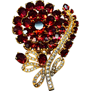 MAGNIFICENT Enormous Eisenberg Original Figural Red Rhinestone Flower Pin!