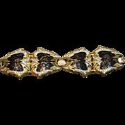 RARE & Magnificent Vintage Boucher Rhinestone Embedded Massive Link Bracelet