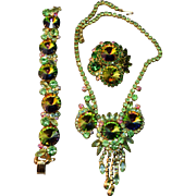 Magnificent Iridescent Green Rivoli & Rhinestone Juliana D&E Necklace, Brooch and Bracelet Set!