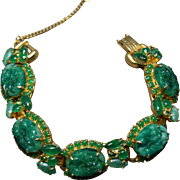 Magnificent Pierced Simulated Carved Jade Juliana DeLizza & Elster LInk Bracelet w/Glass Cabochon Highlights