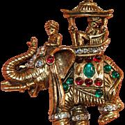 "RARE Hattie Carnegie Figural Brooch w Rajah in Howdah Riding ""Jeweled"" Elephant!"