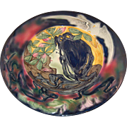 "Gorgeous ""Spring"" Art Nouveau Lady Charger Majolica Glaze Vivid Colors Germany Marked Cico"