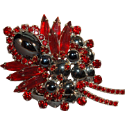 BEWITCHING Juliana DeLizza & Elster Hematite & Ruby Rhinestone Brooch! #67