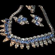 EXQUISITE Hattie Carnegie Signed Vintage Sky Blue Rhinestone Necklace & Earrings