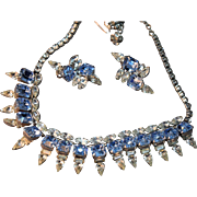 EXQUISITE Hattie Carnegie Signed Vintage Sky Blue Rhinestone Necklace & Earrings