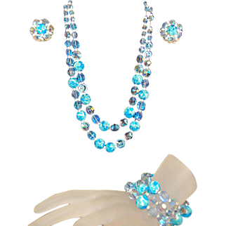 Magnificent RARE Hobe Lava Art Glass/Iridescent Crystal Necklace, Bracelet and Earrings!