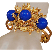RARE Molten Metal High Domed Cabochon Juliana DeLizza & Elster Book Piece Clamper Bracelet