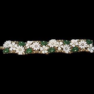 SUPERB Crown Trifari LInk Bracelet with Enameled Flowers, Leaves & Rhinestones!