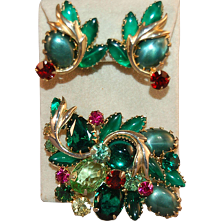 Decadent Vintage  Brooch & Earring Set Open Backed Creamy Cabochons & Rhinestones w/Metal Accents
