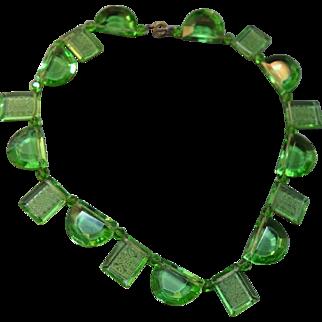 RARE Art Deco 1920's Green Intaglio Etched  Glass Necklace! Amazing!