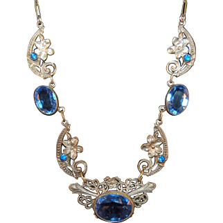 Antique Art Nouveau Possibly French or Czech Filigree Flower Necklace Pressed Metal W/Faceted Rhinestone Highlights