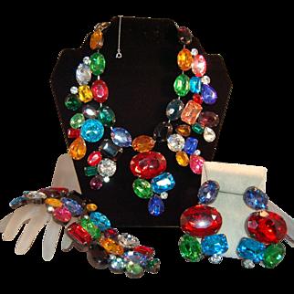 SUMPTUOUS RARE Massive Book Set DeLizza & Elster for KJL Jeweled Bib Necklace, Earrings, Bracelet!