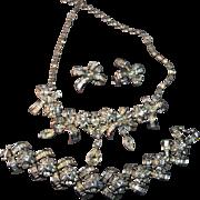 RARE Vintage Shimmering  Pennino Signed Rhinestone Embedded Necklace, Bracelet & Earrings!
