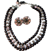 """SUPERB Hobe Vintage 3 Beaded """"Chain"""" Necklace & Earrings! Pink Camphor Beads"""