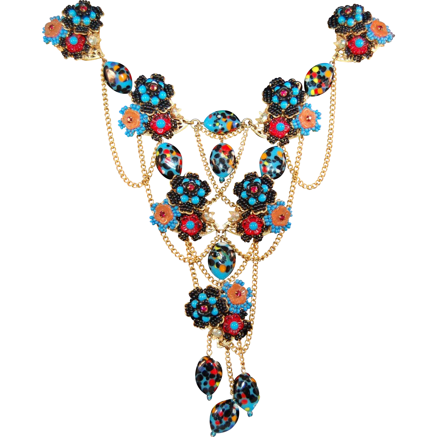 Drama Queen Magnificent Stanley Hagler Harlequin Millefiore & Seed Bead Exquisite Bib Necklace!