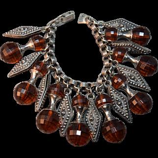 Outrageous Napier Vintage Dangle Bracelet w/Huge Crystals and Metal Designed Accents
