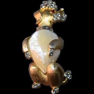 RARE Charming Crown Trifari Figural Poodle Pin w/Simulated Pearl Belly!  Rhinestone Inset