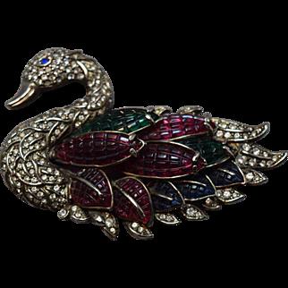 RARE Coro Craft Enormous Figural Dimensional Swan Brooch Rhinestone Embedded