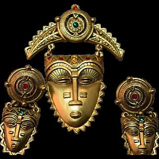 """Fantastic Vintage Figural Elaborate Hanging """"Jeweled Mask"""" Brooch & Earring Set"""