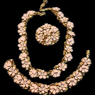Crown Trifari Dimensional Pink Flower Necklace, Bracelet and Brooch! DIVINE!