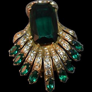 Eisenberg Original Decadent Huge Green Rhinestone Sterling Pin/Brooch