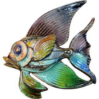 RARE Vintage Sterling Germany Enameled Tropical Fish Figural Brooch!