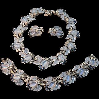 RARE Philippe Crown Trifari Faux Tulip Moonstone Necklace, Bracelet Earring Set