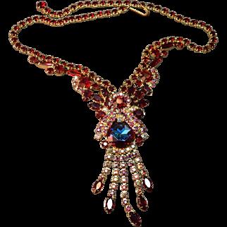 EXQUISITE Juliana DeLizza & Elster Watermelon Stone (Heliotrope) Iridescent Rhinestone Dangle Necklace