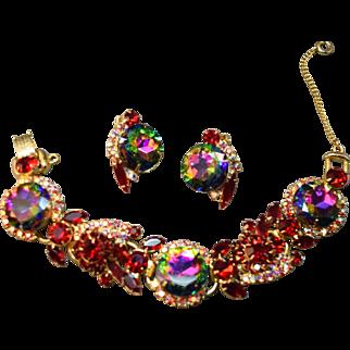 Sizzling Juliana DeLizza & Elster Watermelon & Ruby Red Rhinestone 5-Link Bracelet & Earring Set