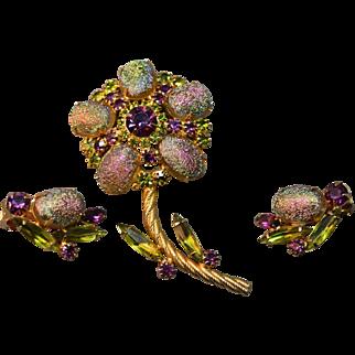 Juliana D&E Unusual Oval Iridescent Opaque Cab Figural Flower Brooch & Earrings