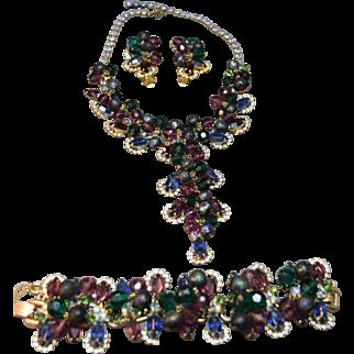 SUPERB Juliana DeLizza & Elster Book Set Haloed Rhinestone & Crystal Bead Necklace, Bracelet & Earrings