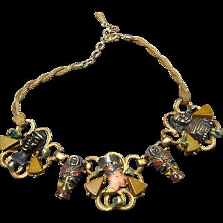 Exquisite Hobe Unsigned Egyptian Revival Figural Enamel & Bakelite Necklace