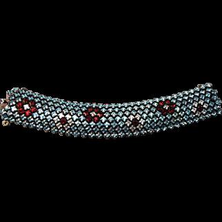 RARE Signed Schreiner Rhinestone Encrusted Flat Wide Vintage Bracelet!