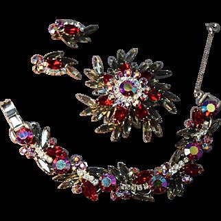 Juliana D&E Black Diamond & Iridescent Ruby Red Rhinestone Bracelet, Brooch & Earring Set