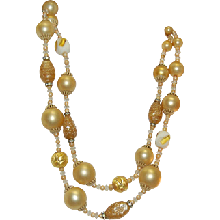 Dazzling Vintage Signed Vendome Double Strand Art Glass Foil Beads/Crystal Necklace & Earring Set