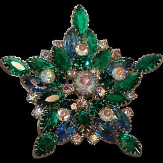 "Juliana D&E Scrumptious Emerald Green/AB Rhinestone Huge ""Star"" Brooch!"