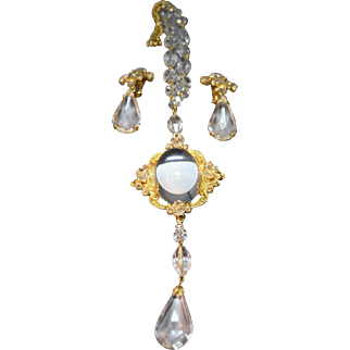 Schreiner Exceptional Domed Jelly Cabochon & Rhinestone Embellished Necklace/Brooch and Earring Set!