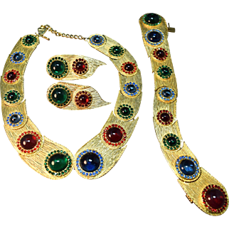 """EXQUISITE RARE Mosell Haute Couture """"Jeweled"""" Necklace, Bracelet & Earrings!"""