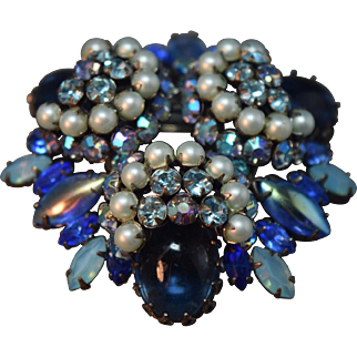 Opulent RARE Domed Layered Signed  Schreiner Vintage Brooch w/.Iridescent Stones Blue Cabochons